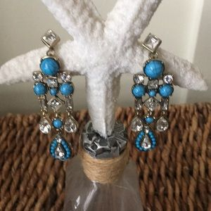 Jewelry - Faux turquoise and rhinestone statement earrings